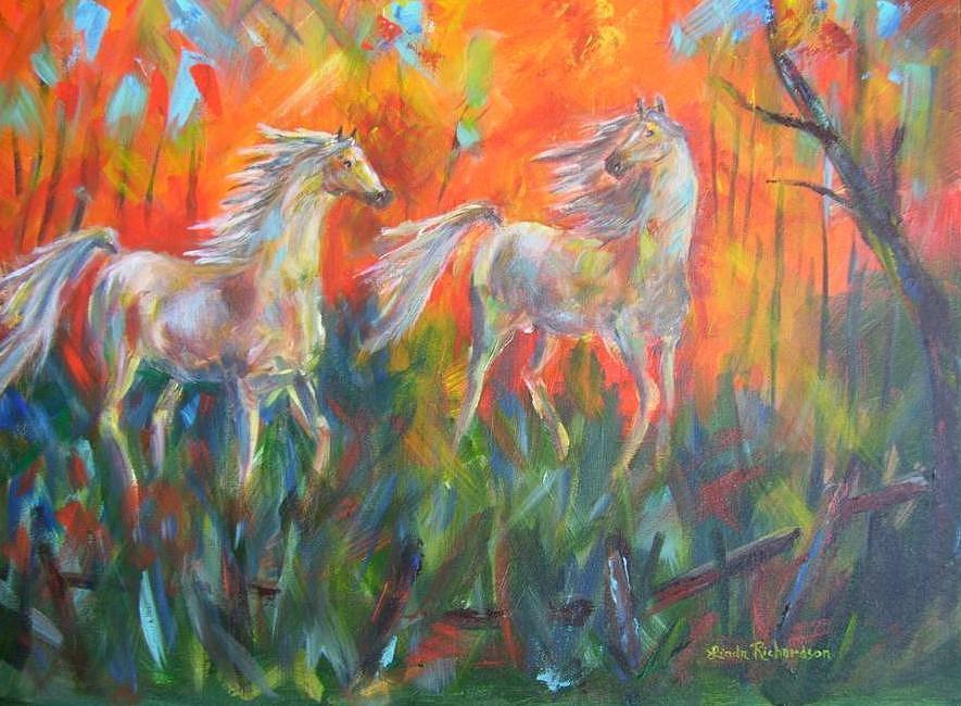 Horses Painting - Play Mates by Linda Richardson