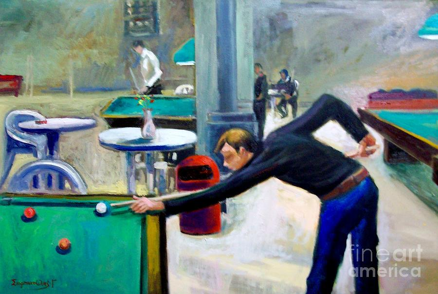 Playing Billiard Painting by George Siaba