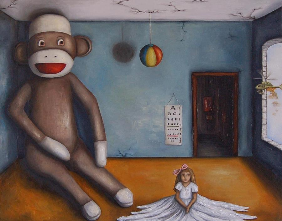 Sock Monkey Painting - Playroom Nightmare by Leah Saulnier The Painting Maniac
