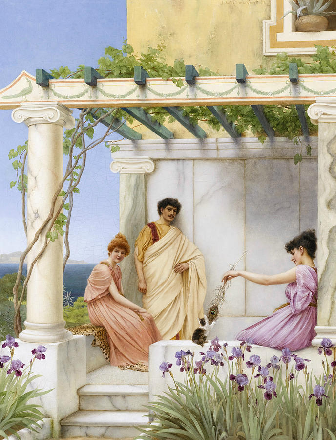 English Painters Painting - Playtime by John William Godward