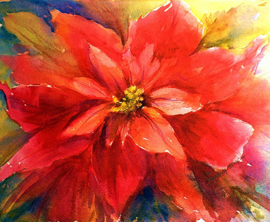 Red Painting - Poinsettia by Sherry Jarvis