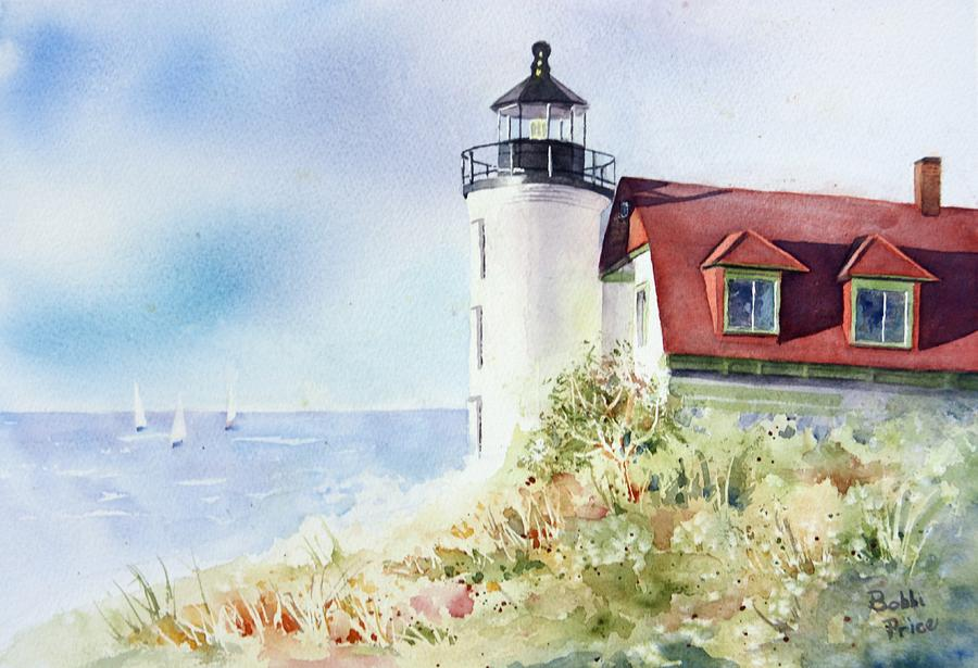 Lighthouse Painting - Point Betsie by Bobbi Price