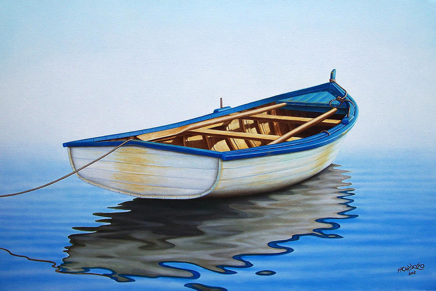 Pointing offshore painting by horacio cardozo for Fishing boat painting