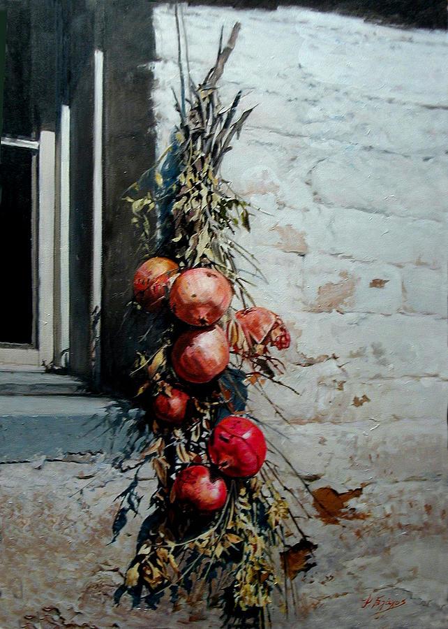 Pomegranates Painting - Pomegranates by Demetrios Vlachos