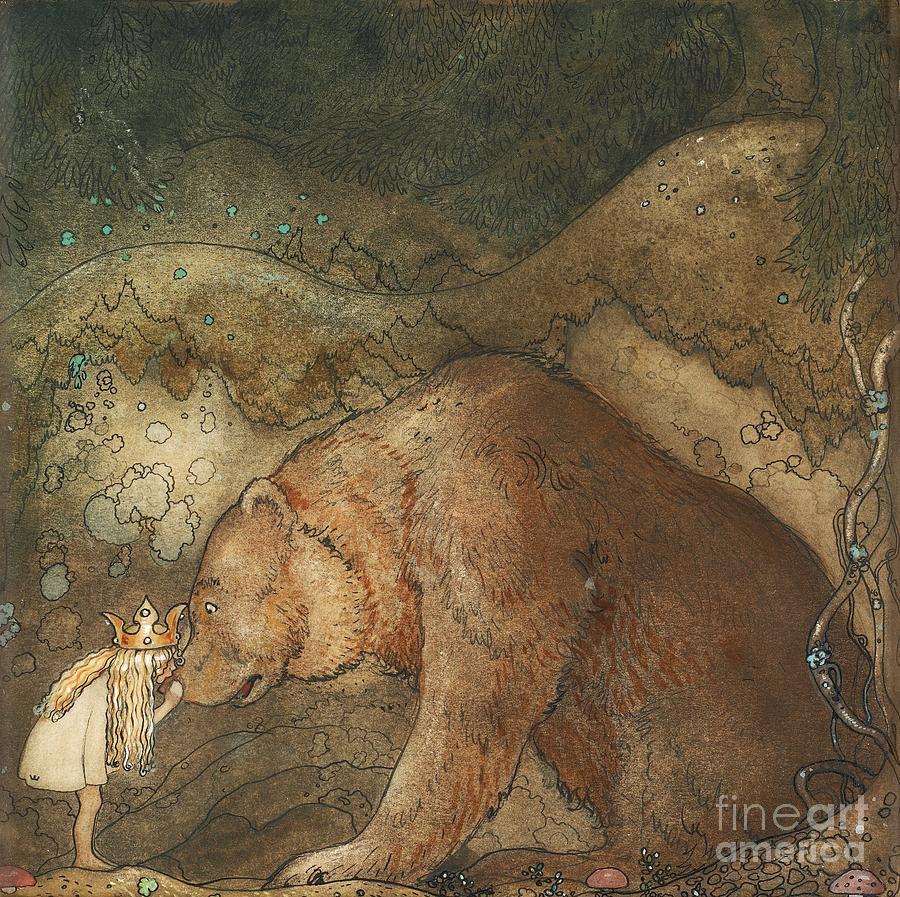 John Bauer Painting - Poor Little Bear by John Bauer