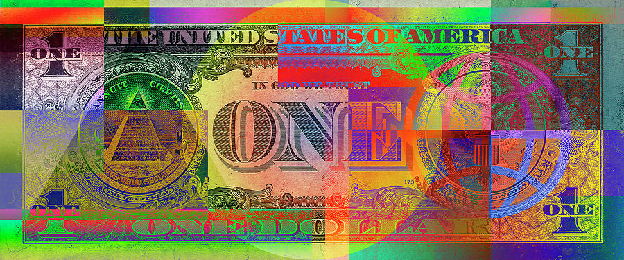 Money Photograph - Pop-Art Colorized One U. S. Dollar Bill Reverse by Serge Averbukh