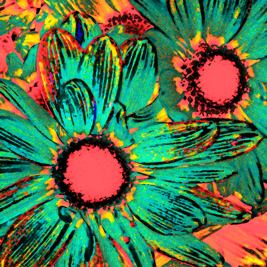 Daisy Painting - Pop Art Daisies 3 by Amy Vangsgard