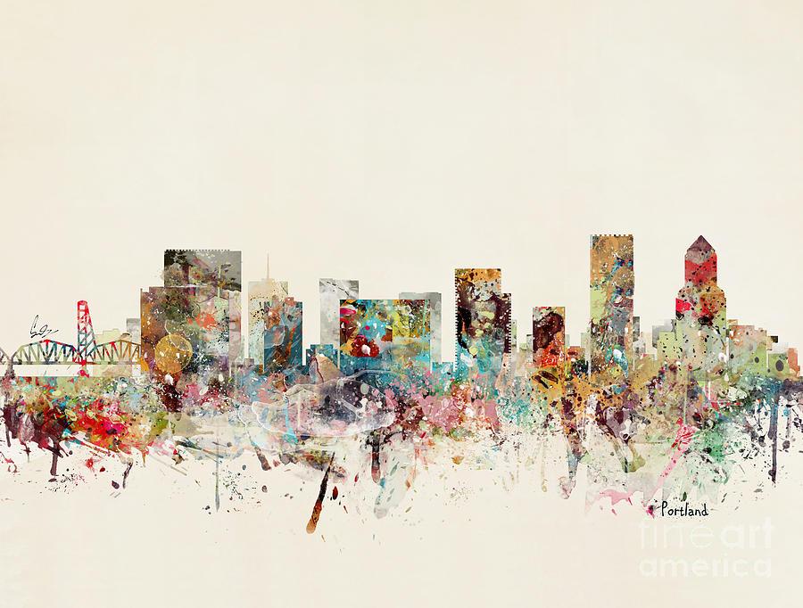 Portland Cityscape Painting - Portland Oregon Skyline by Bri Buckley