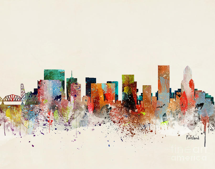 Portland Cityscape Painting - Portland Skyline by Bri Buckley