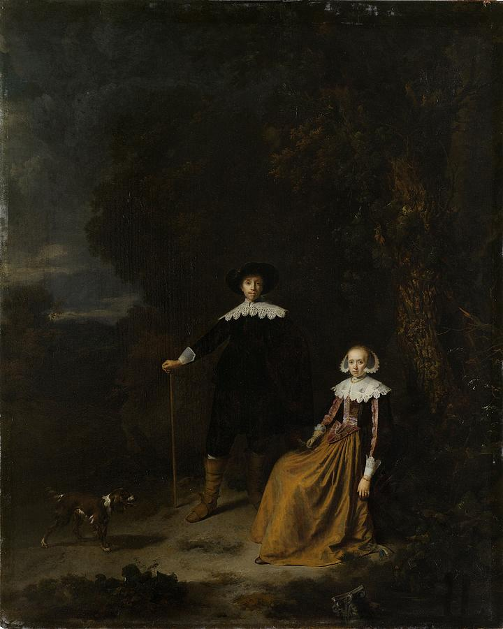 Couple Painting - Portrait Of A Couple In A Landscape by Gerard Dou