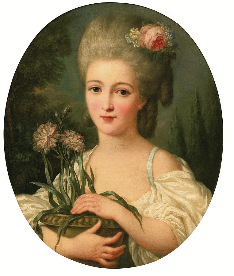 Portrait Of A Young Girl Holding A Flower Pot