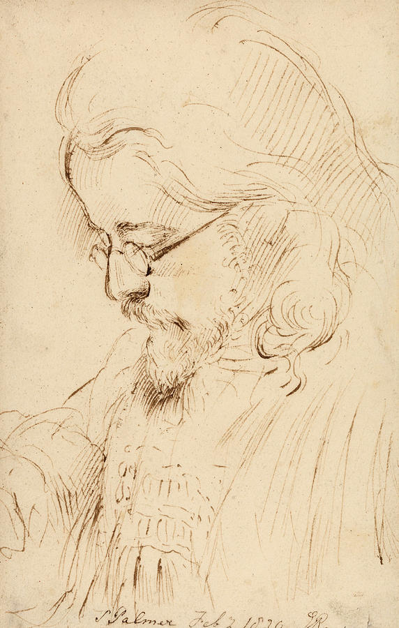 George Richmond Drawing - Portrait Of Samuel Palmer Head And Shoulders by George Richmond