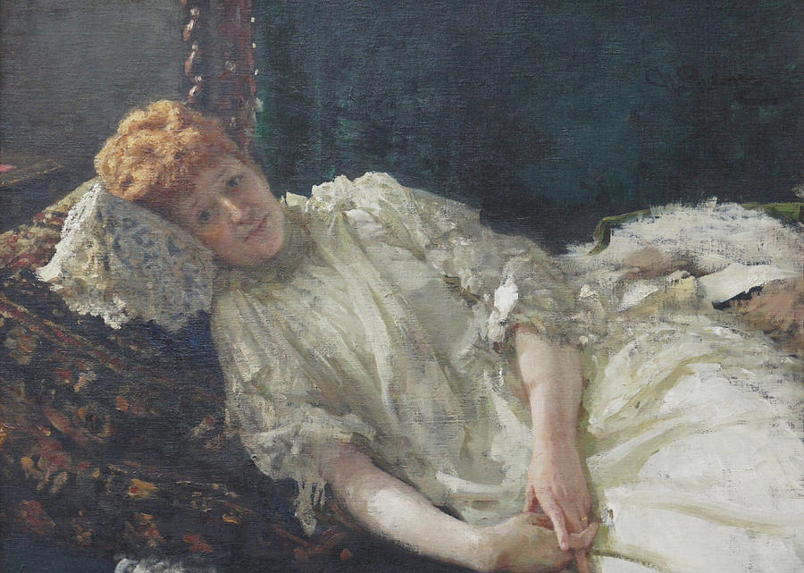 Russian Painting - Portrait of the Pianist Louisa Mercy Dargenteau by Ilya Repin