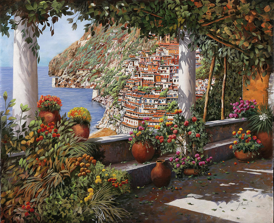 Positano Dalla Terrazza Painting by Guido Borelli