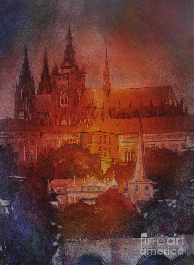 Alleyways Painting - Prague Castle by Ryan Fox