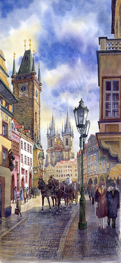 Watercolour Painting - Prague Old Town Square 01 by Yuriy Shevchuk