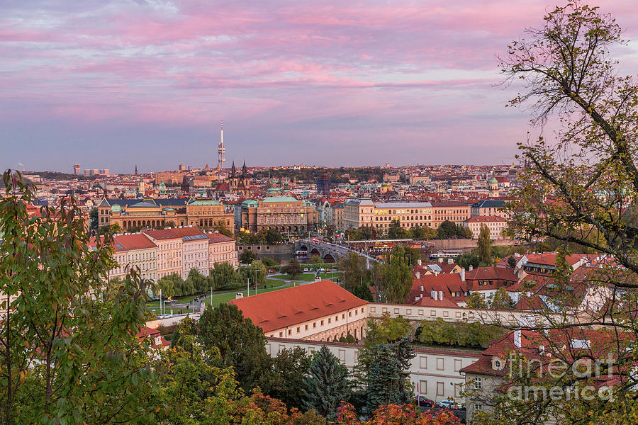Copy Space Photograph - Prague Skyline At Sunset by Travel and Destinations - By Mike Clegg