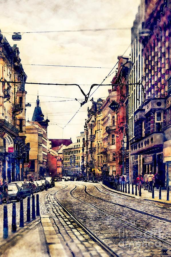 Prague Painting - Prague street watercolor by Justyna Jaszke JBJart