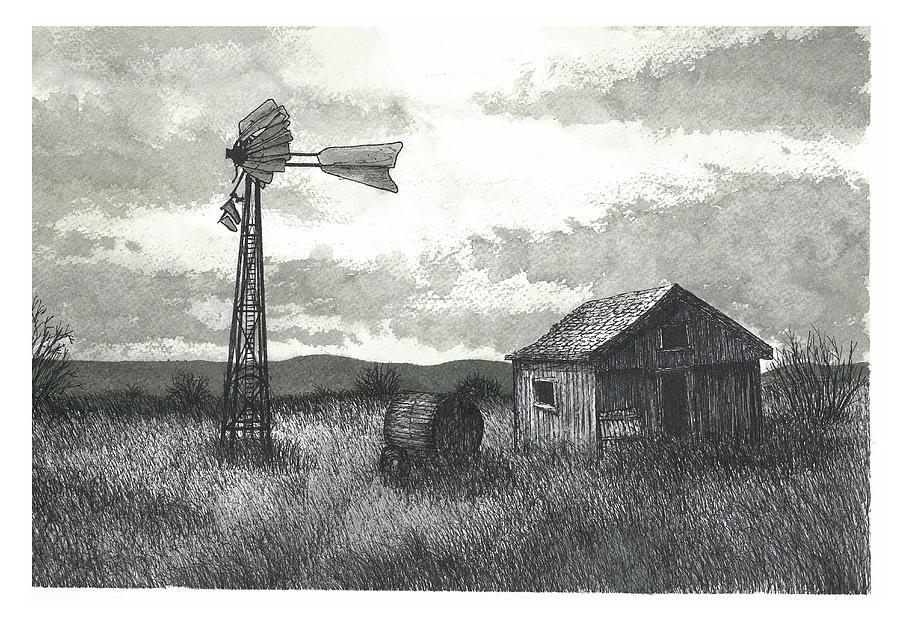 Prairie Painting - Prairie Farm by Jonathan Baldock