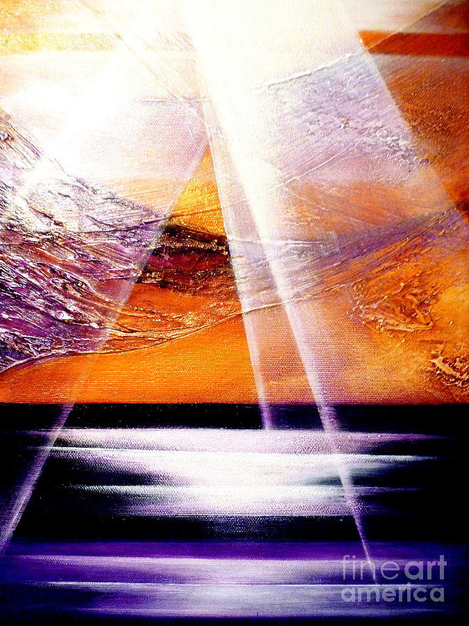 Landscape.light.sunrise.beach.sea Painting - Pray by Kumiko Mayer