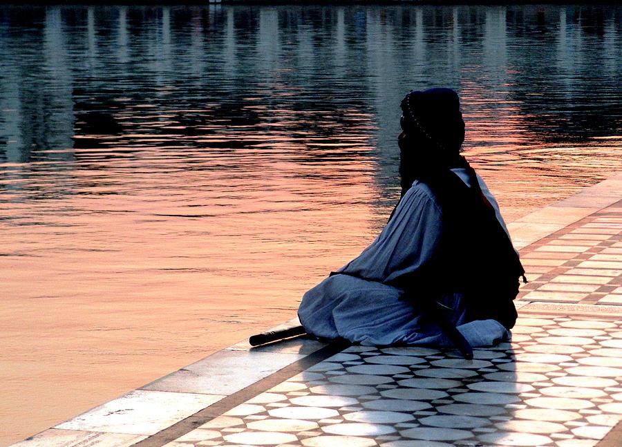 Prayer Photograph - Praying Man At The Golden Temple by Leena Kewlani