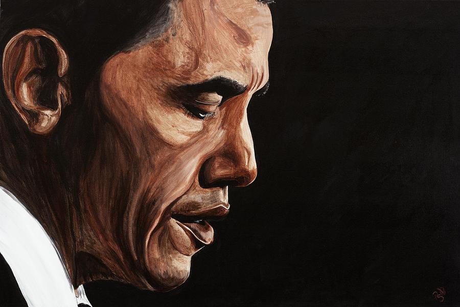 Portrait Painting - President Barack Obama Portrait by Patty Vicknair