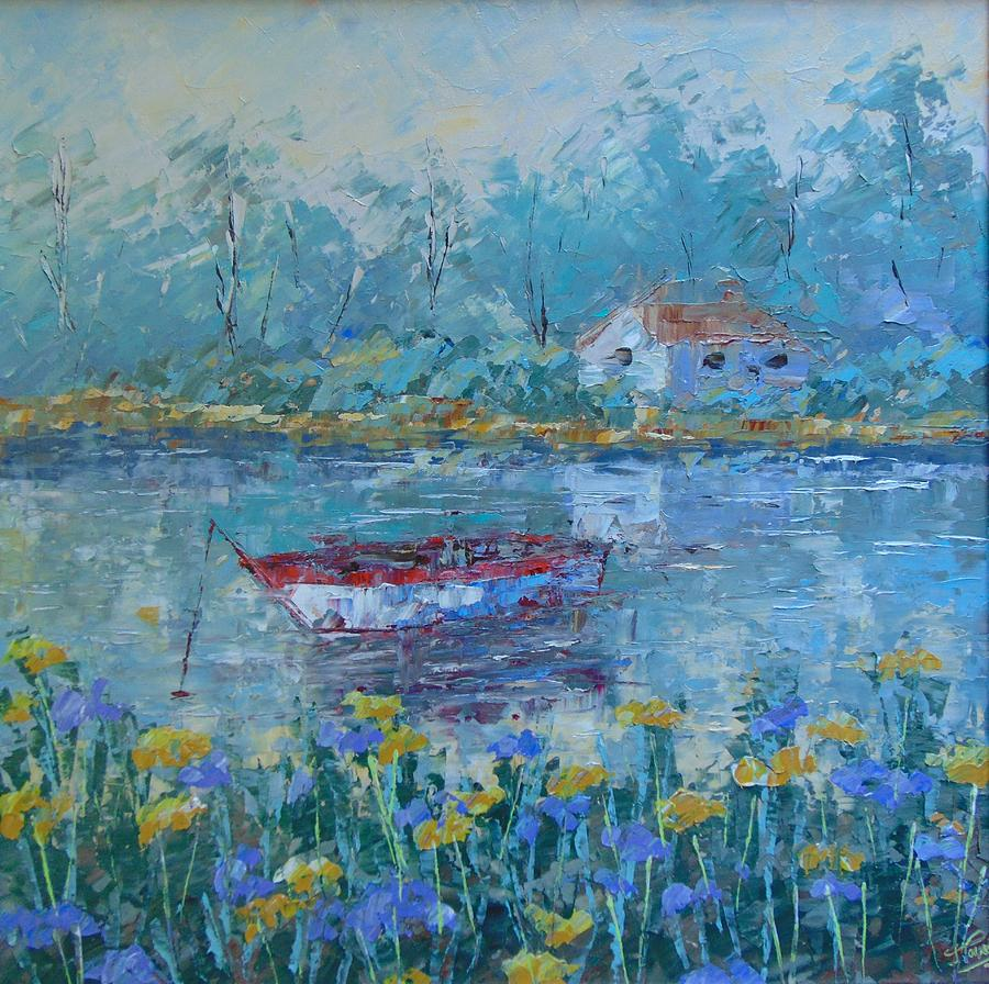 Landscape Painting - Provence Lake by Frederic Payet