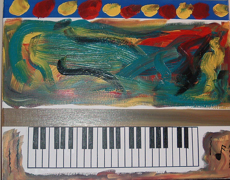 Abstract Painting - Psychedelic Mini Piano by Lon Cerame