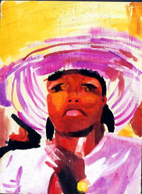 Gouache Painting - Purple Hat Lady by MDanette Smith