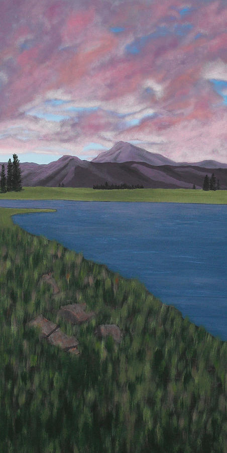 Landscape Painting - Purple Mountains by Candace Shockley