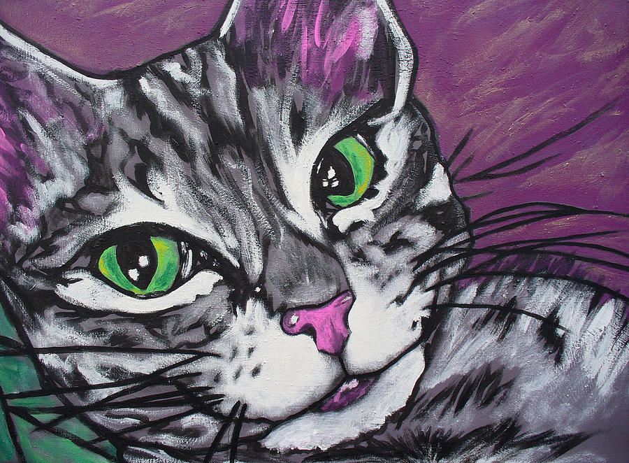 Cat Painting - Purple Tabby by Sarah Crumpler