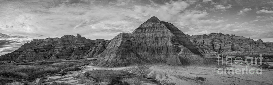 Pyramid In The Badlands Panorama Photograph