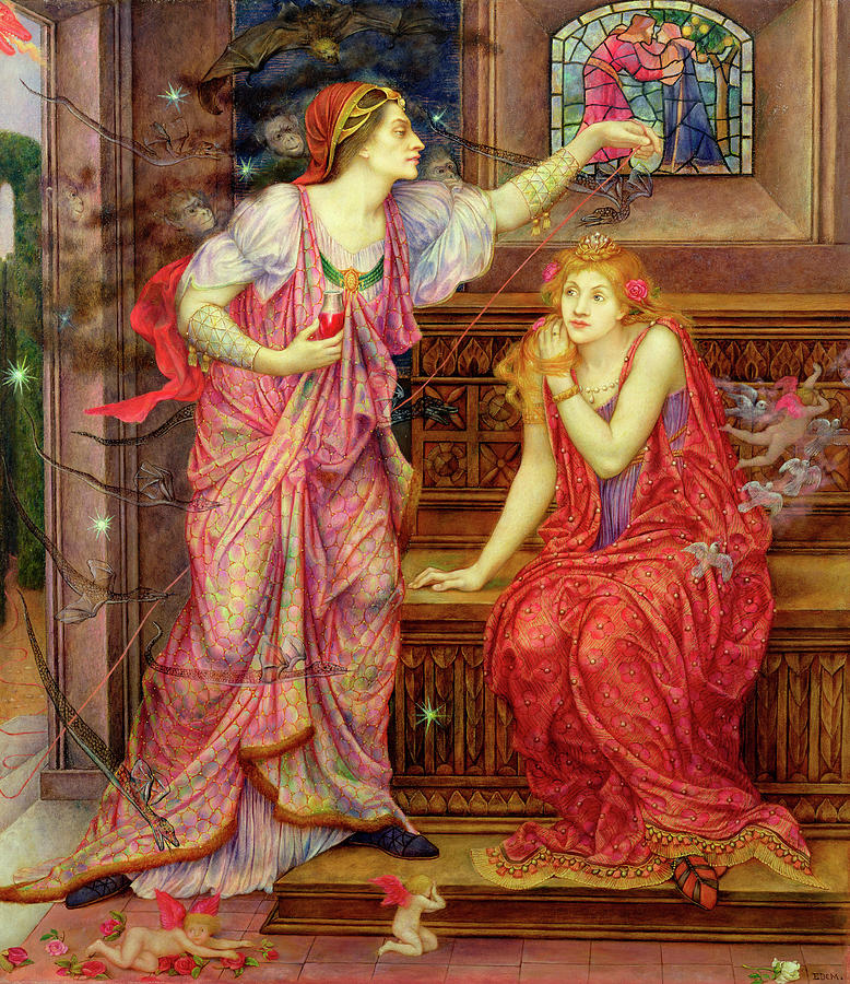 Fair Painting - Queen Eleanor And Fair Rosamund by Evelyn De Morgan