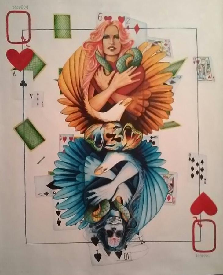 Queen Of Hearts Painting by DC Houle