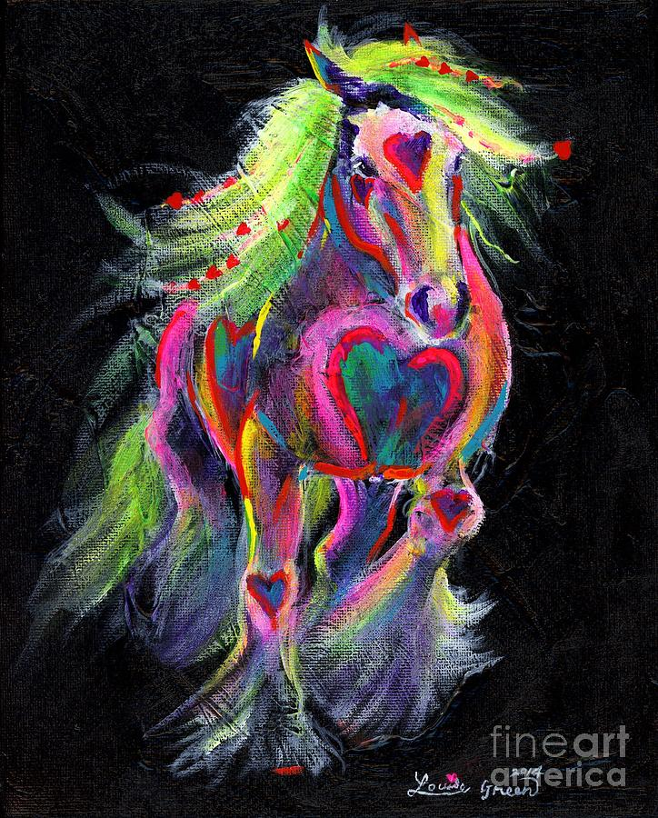 Gypsy Horse Painting - Queen Of Hearts Pony  by Louise Green