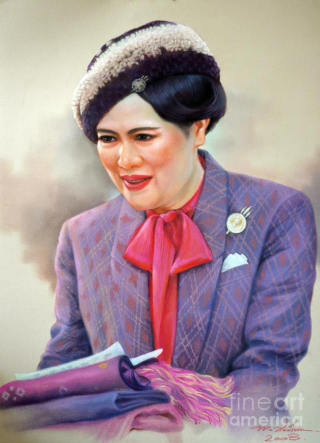 Thai Painting - Queen Sirikit by Chonkhet Phanwichien