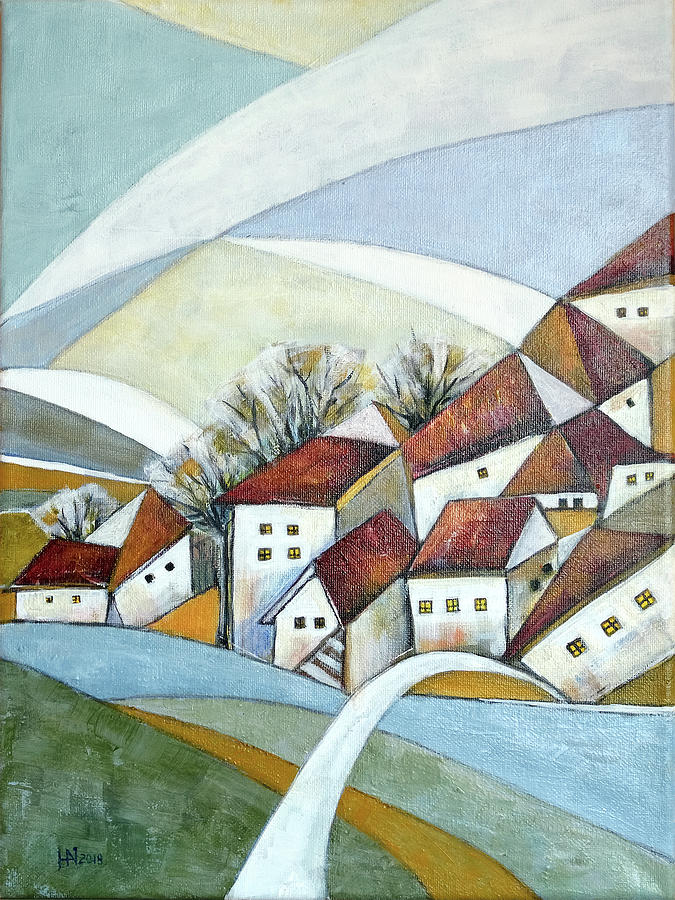 Abstract Painting - Quiet Village by Aniko Hencz