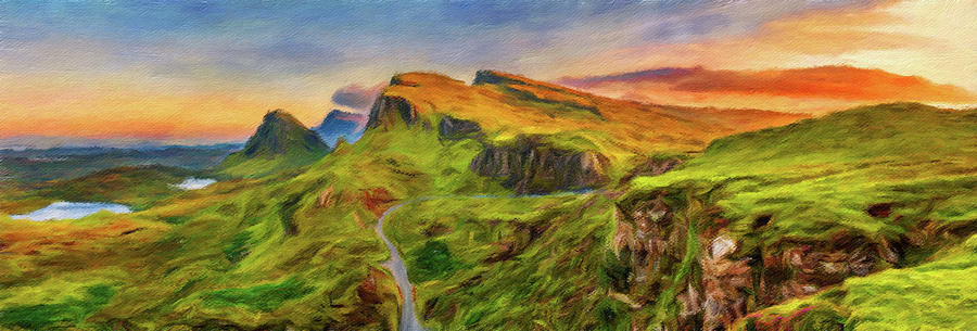 Quiraing Mountains Isle of Skye Print CANVAS WALL ART Triple Picture Green
