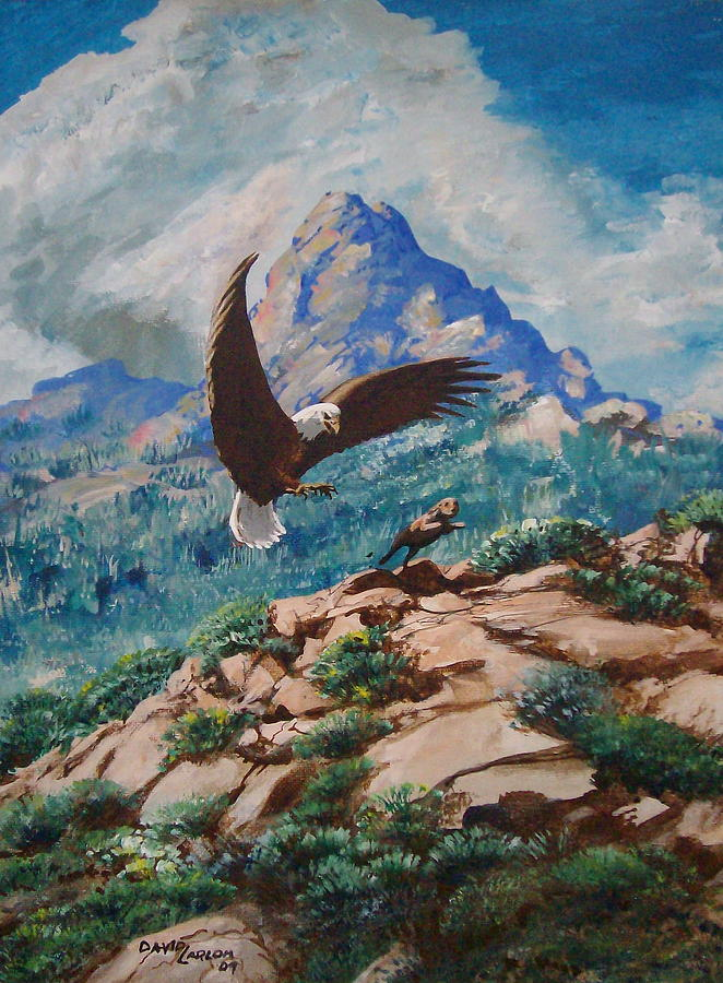 Eagle Painting - Rabbit Hunt by David  Larcom