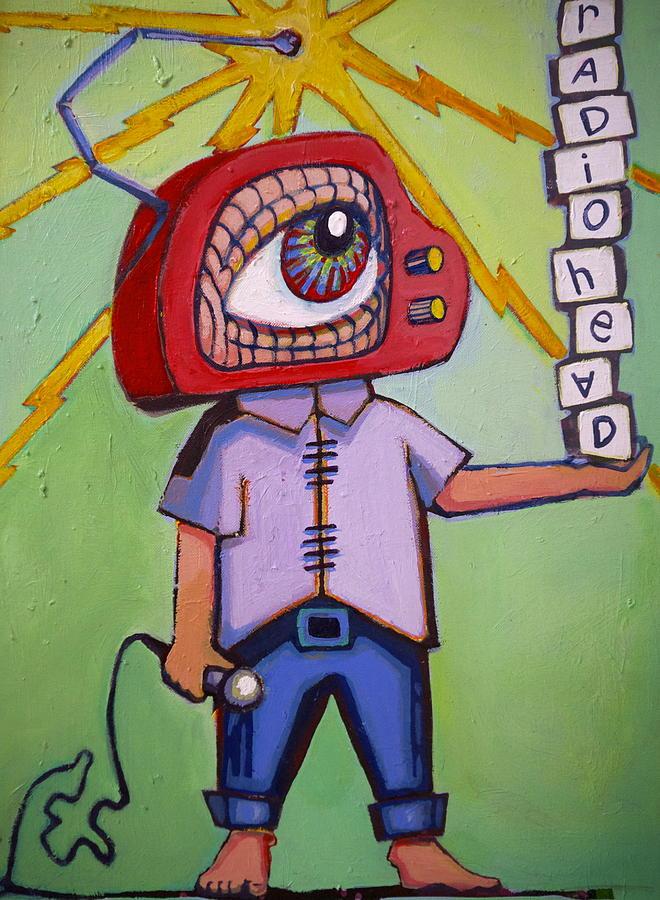 Radiohead Painting - Radio Head Man by Erica Shaw