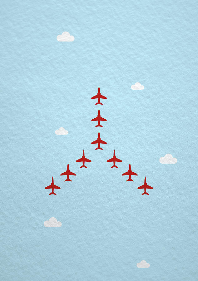 Raf Red Arrows In Formation Photograph