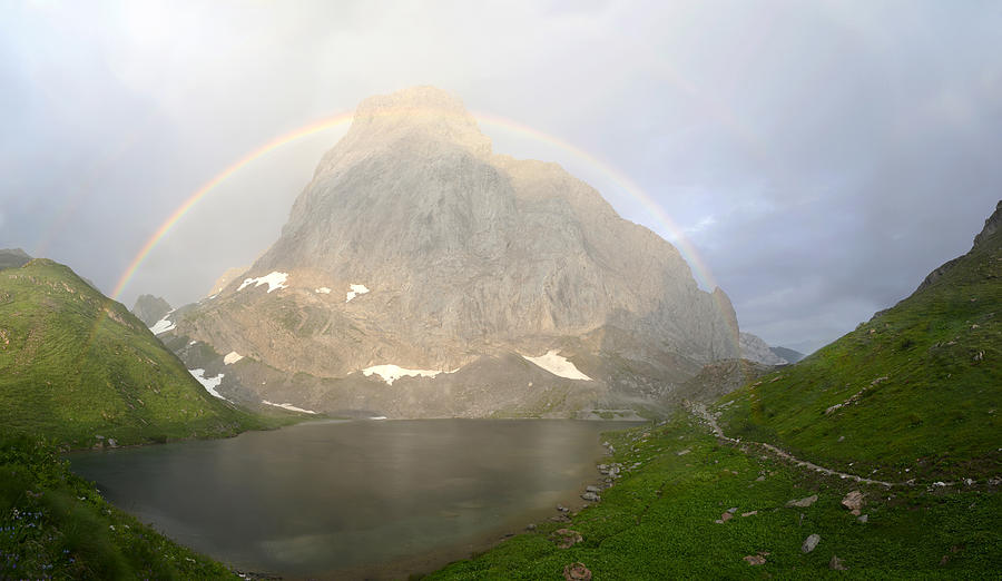 Rainbow Photograph - Rainbow at Volaia lake by Andrea Gabrieli