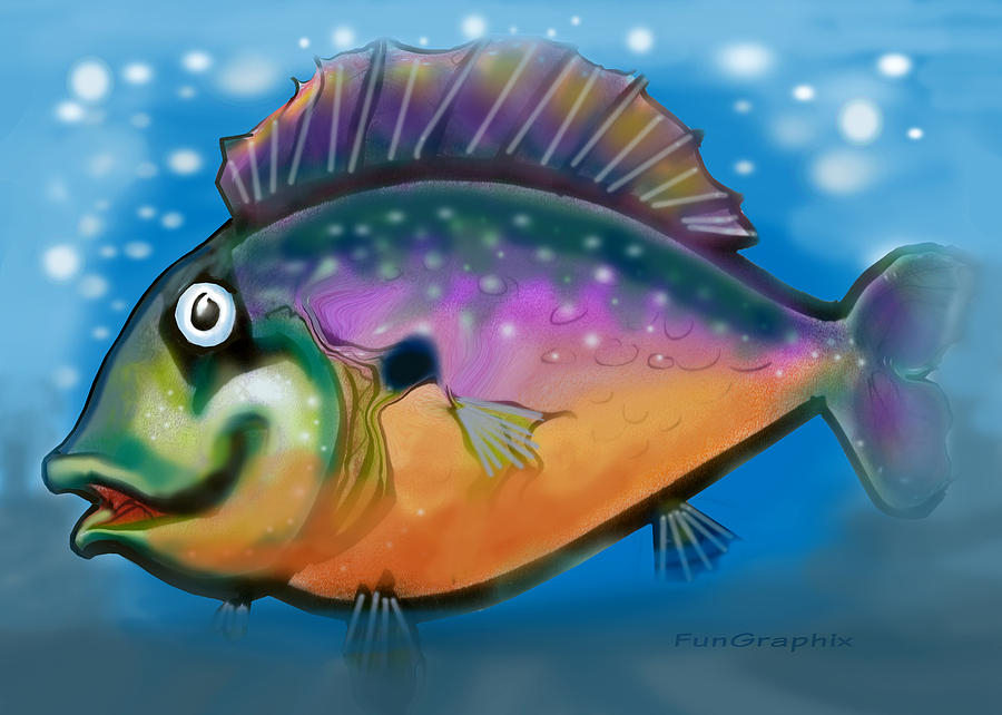 Fish Greeting Card - Rainbow Fish by Kevin Middleton