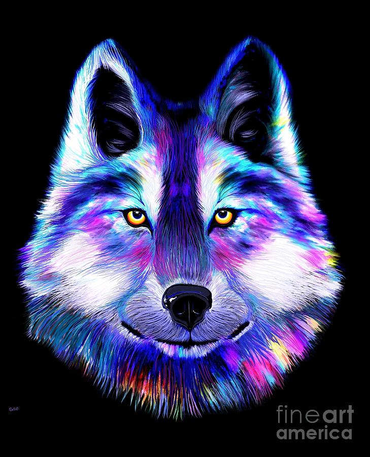 Rainbow Wolf Digital Art By Nick Gustafson