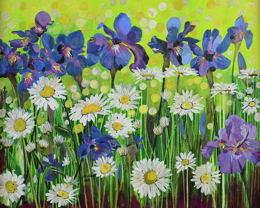 Blue Iris Painting - Raining Sunshine by Pamela Trueblood