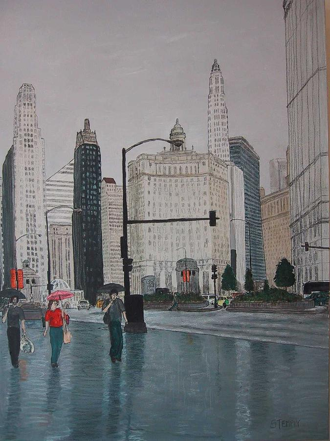 Chicago Painting - Rainy Day Chicago by Jacob Stempky