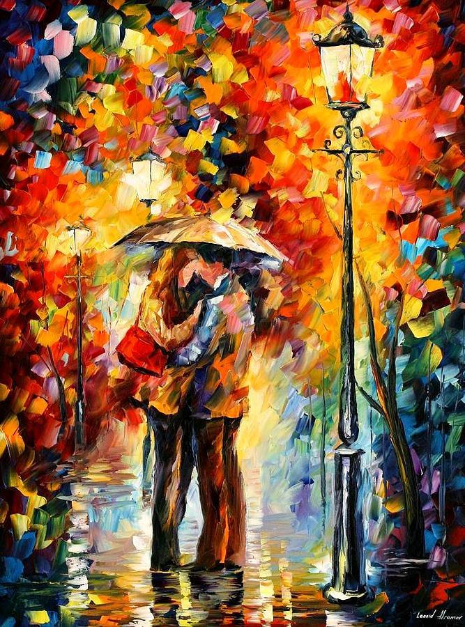 Woman Painting - Rainy Kiss by Leonid Afremov