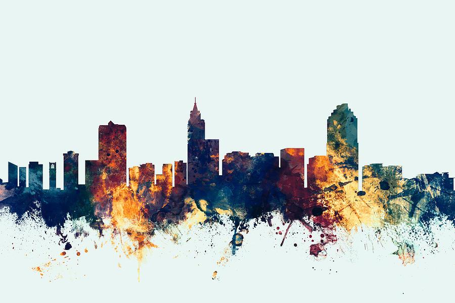Raleigh North Carolina Skyline Digital Art by Michael Tompsett