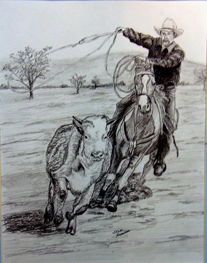 Cowboy Drawing - Ranch work by Stan Hamilton