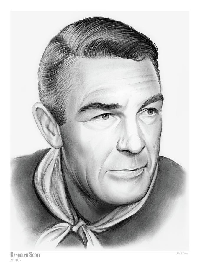 Actor Drawing - Randolph Scott 1 by Greg Joens